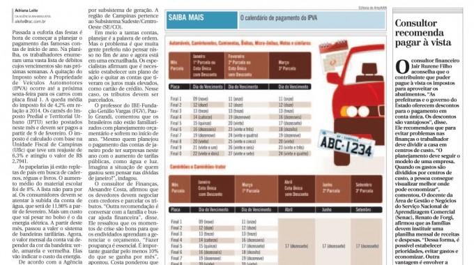 IPVA Puxa Fila De Compromissos Financeiros Em Janeiro – Correio Popular