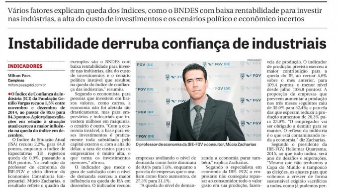 DCI: Instabilidade Derruba Confiança De Industriais