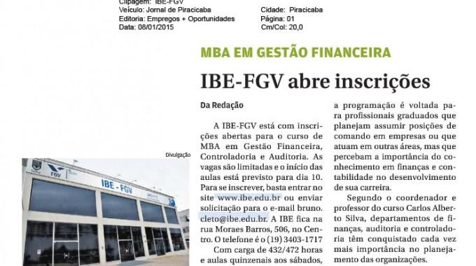 Jornal De Piracicaba: MBA Em Gestão Financeira. IBE Conveniada FGV Tem Inscrições Abertas