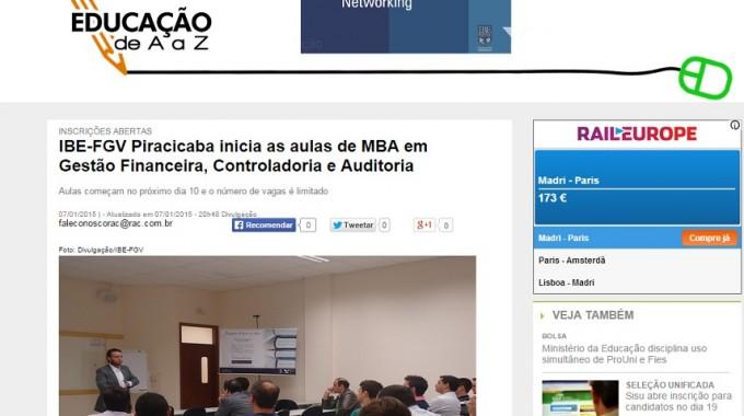 IBE Conveniada FGV Piracicaba Inicia As Aulas De MBA Em Gestão Financeira, Controladoria E Auditoria