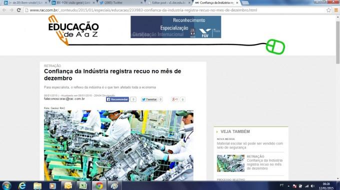 RAC: Confiança Da Indústria Registra Recuo No Mês De Dezembro