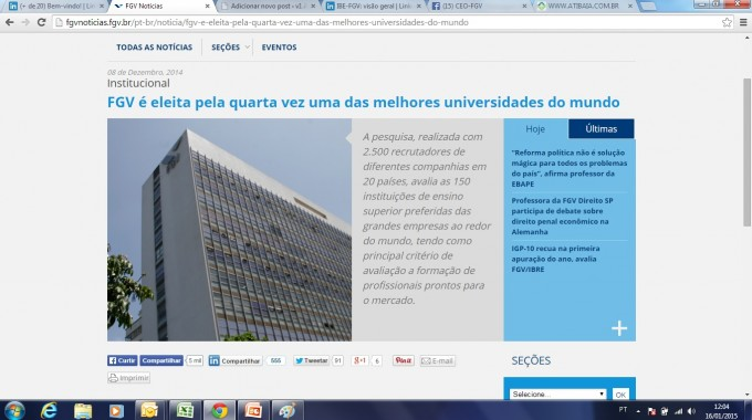 FGV é Eleita Pela Quarta Vez Uma Das Melhores Universidades Do Mundo