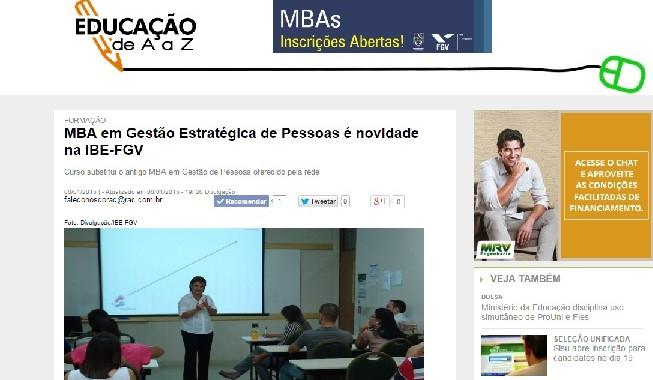 RAC Divulga Novo MBA Em Gestão Estratégica De Pessoas Da IBE Conveniada FGV