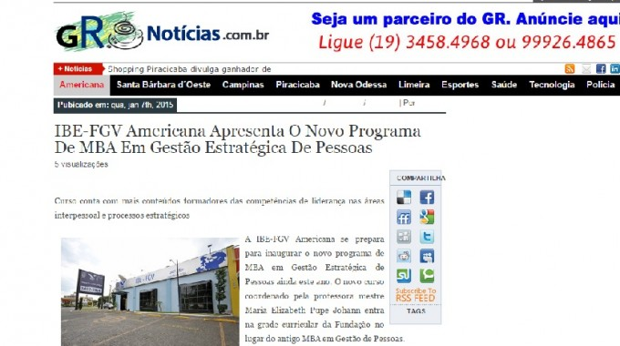 GRNoticias Divulga Novo MBA Na IBE Conveniada FGV Limeira