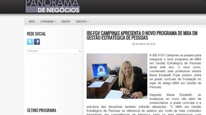 Panorama De Negócios Divulga MBA Em Campinas