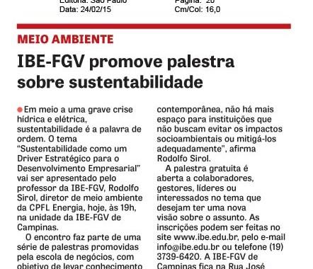 IBE Conveniada FGV Promove Palestra Sobre Sustentabilidade – DCI