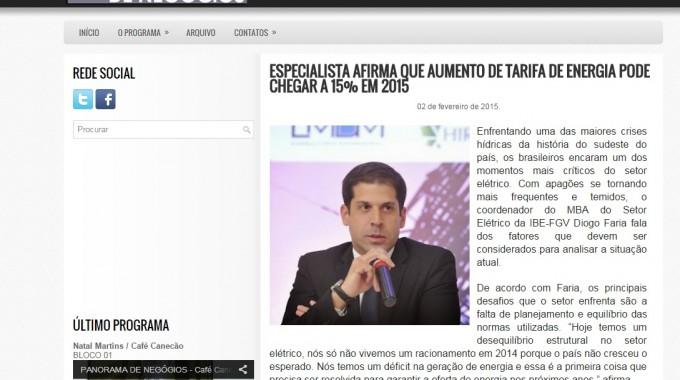 ESPECIALISTA AFIRMA QUE AUMENTO DE TARIFA DE ENERGIA PODE CHEGAR A 15% EM 2015