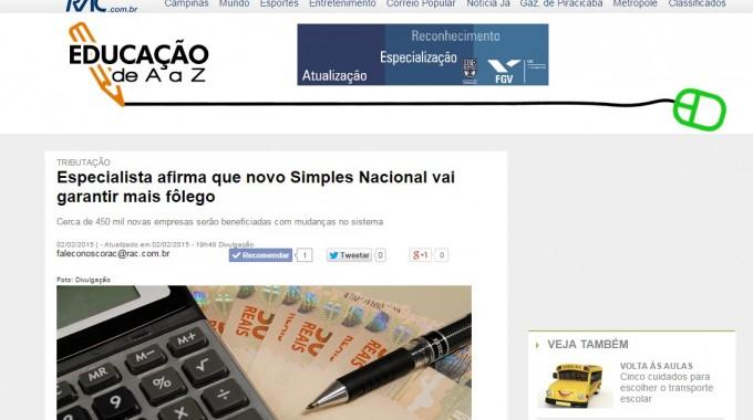 RAC Divulga Matéria Sobre Novo Simples Nacional