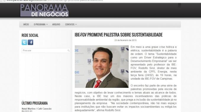 Panorama Negocios Palestra Sustentabilidade