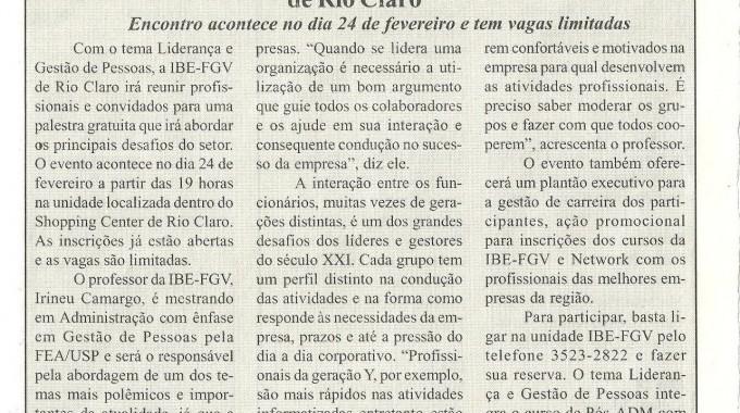 Gestão De Pessoas é Tema De Palestra Na IBE Conveniada FGV Rio Claro