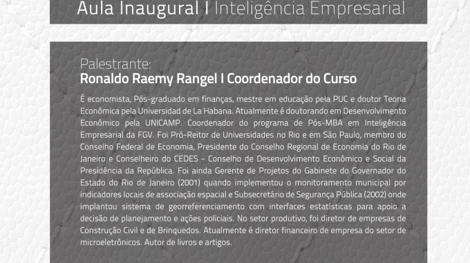 Aula Inaugural Pos MBA Ronaldo 2103