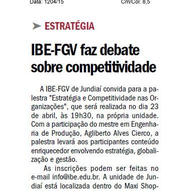 Jornal De Jundiaí – Nota Sobre Palestra IBE Conveniada FGV