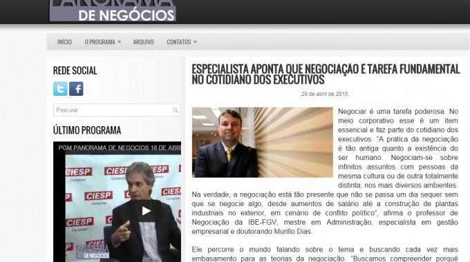 Site Panorama Palestra Negociação