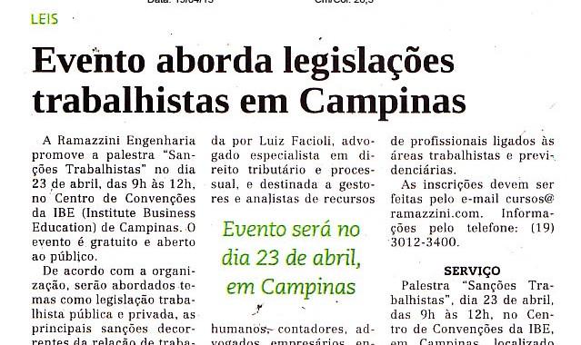 Evento Aborda Legislações Trabalhistas Em Campinas