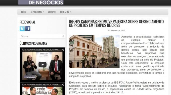 IBE Conveniada FGV CAMPINAS PROMOVE PALESTRA SOBRE GERENCIAMENTO DE PROJETOS EM TEMPOS DE CRISE