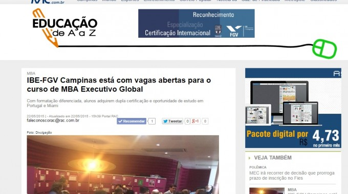 RAC Divulga MBA Executivo Global