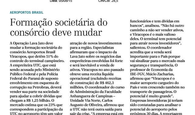 Formação Societária Do Consórcio Deve Mudar. Matéria No Correio Popular Com O Especialista Da IBE Conveniada FGV, Múcio Zacharias.