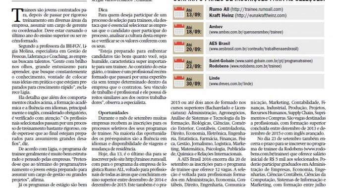 Abertas Seleções Para Programas De Trainee. Matéria No Jornal De Jundiaí Com A Especialista Da IBE Conveniada FGV, Ligia Molina.