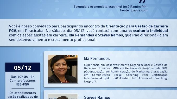 Save The Date: Plantão De Orientação De Carreira Na IBE Conveniada FGV Piracicaba!