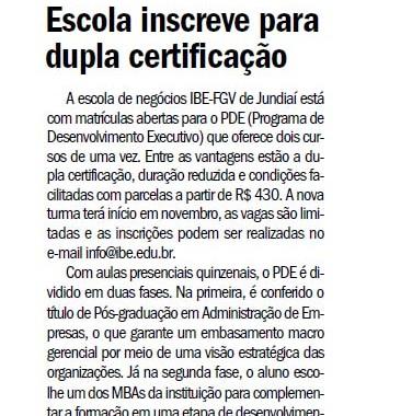 Escola Inscreve Para Dupla Certificação – Jornal De Jundiaí