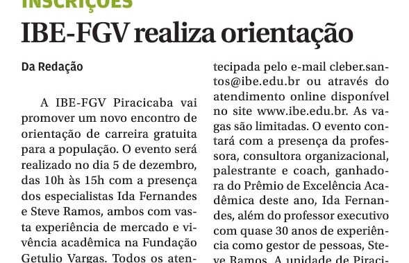 IBE Conveniada FGV Promove Orientação De Carreira – JP