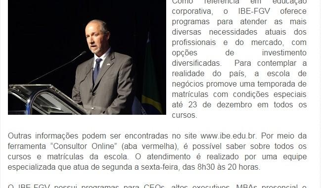 IBE Conveniada FGV PROMOVE AÇÕES ESPECIAIS EM TODOS OS CURSOS DE EDUCAÇÃO CORPORATIVA