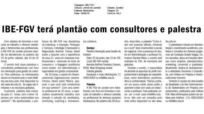 IBE Conveniada FGV Terá Plantão Com Consultores E Palestra