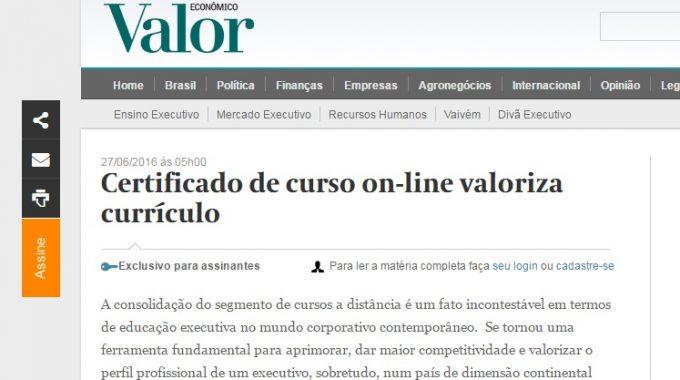 Certificado De Curso Online Valoriza Currículo, Sim!
