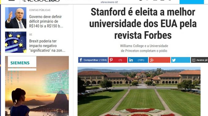 Stanford é Eleita A Melhor Universidade Dos EUA Pela Revista Forbes