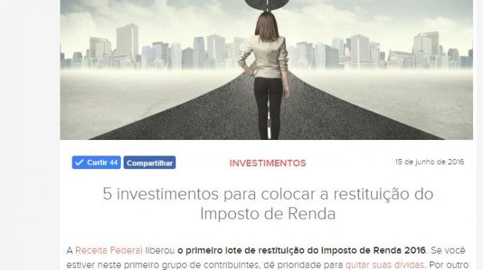 Opções De Investimento Da Restituição Do IR